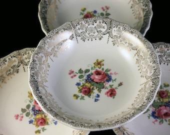 Fruit Bowls, Canonsburg Pottery Company, Set of 4, Warranted 22 Karat Gold, Rose Floral Pattern, Gold Filigree, Dessert Bowls