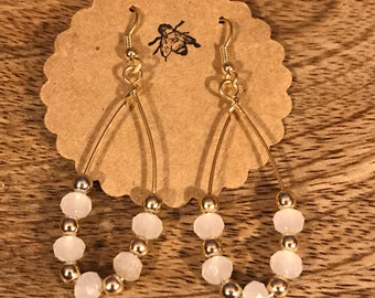 White Gems and Gold Earrings * Dangle Classy Earrings * Gold and White Earrings