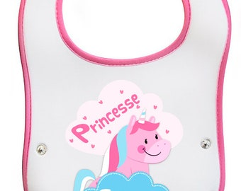 Bib of learning Princess Unicorn personalized with name choice