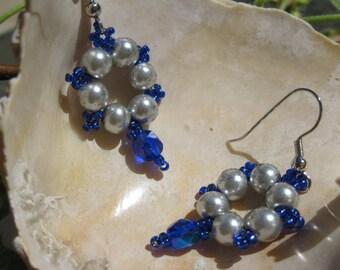 Gray Glass Pearl Earrings