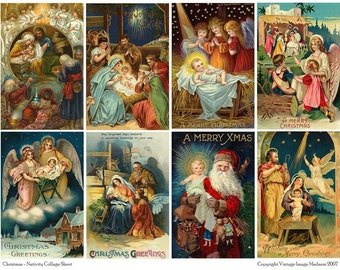 HOLIDAY NATIVITY  - Vintage CHRISTMAS Collage Sheet - Instant Download