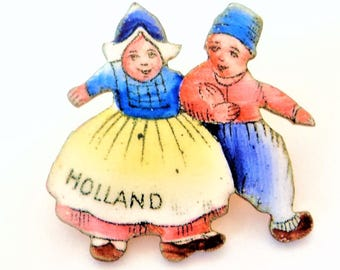 Enamel Holland Souvenir Brooch... Hand Painted Children... Traditional Dutch... c1930s-50s