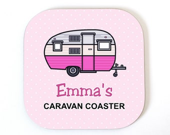 Personalised CARAVAN Coaster Drinks Mat Fun Novelty Birthday Christmas Gift Idea