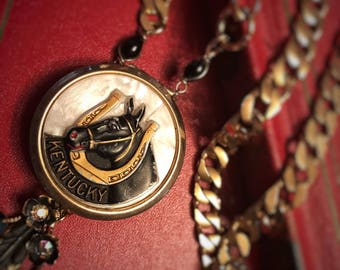 Equestrian Jewelry/ Statement Necklace/ Horse Necklace/ Vintage Locket/ Kentucky Derby/ Black and Gold Necklace/ Puddin And Peanuts/ Vesta