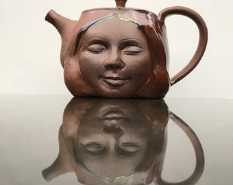 Face Teapot Buddha Woman Sculpture Head with Bas Relief Figurine in Meditation, Yoga Art Serving Figure
