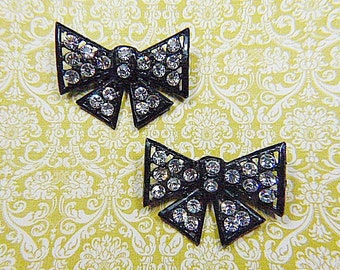 Vintage TIPTOE Art Deco Bow Shoe Clips Black and 20 Rhinestones - BR-264 - Vintage Shoe Clips - Filigree Shoe Clips - BAROQUE Shoe Clips