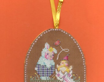 Completed Cross stitch ornament Easter suprise