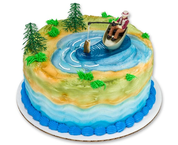 Fishing Cake Topper Fishermans Birthday Cake Topper Fishing Cake