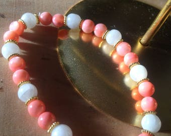Handmade bracelet with Moonstone and coral pink