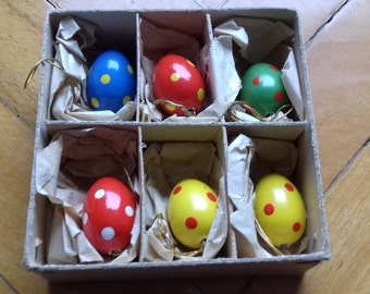 lot of 6 mini wooden easter eggs Dregeno. made in Gemany/ in original box