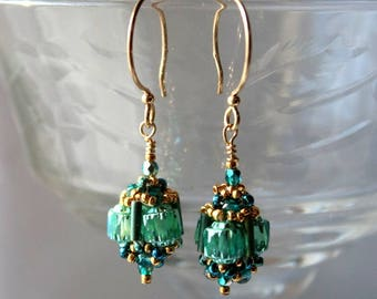 Hand Beaded earrings With Cathedral Teal Czech glass beads, 14 kt gold filled findings