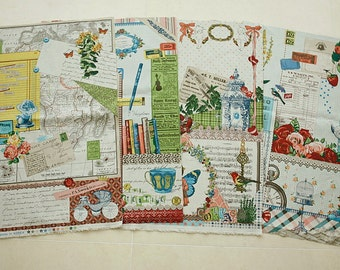 """Collage in Reminiscence - Cotton Linen Fabric - 4 in 1 Panel - 140cm x 80cm (55"""" x 31.5"""")"""