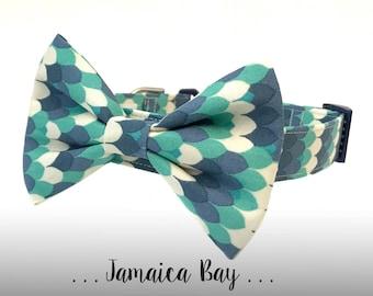 Blue and Aqua Bow Tie Dog Collar; Dog Collar Bow Tie Set: Jamaica Bay