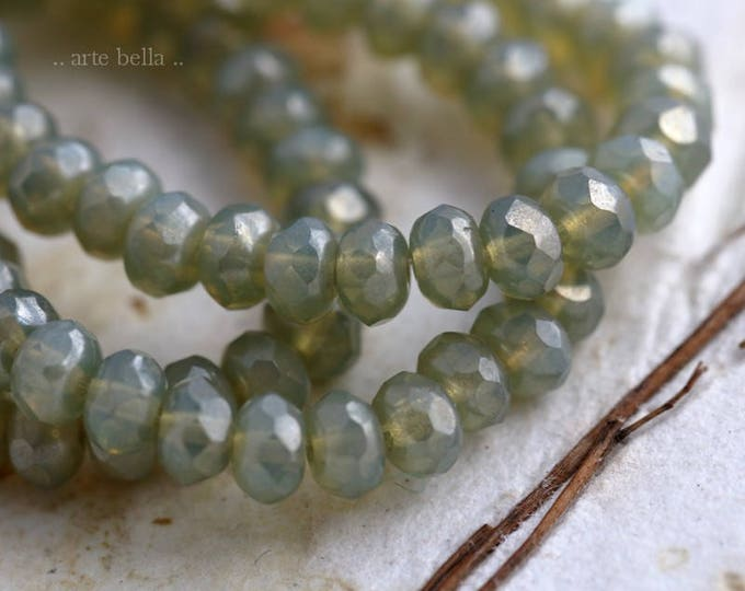 SILVERED SAGE BABIES No. 2 .. 30 Picasso Czech Rondelle Opal Glass Beads 3x5mm (5906-st)