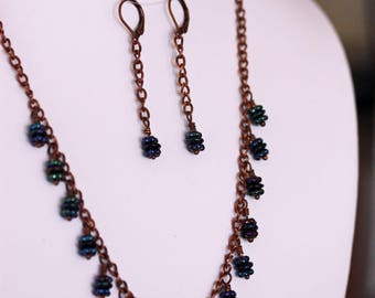 Fringed Necklace & Earrings Set - Purple Iris with Antique Copper                                       UPT011