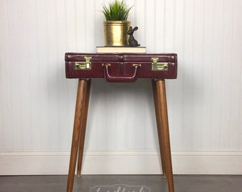 SOLD Briefcase End Table, Steampunk Bedside Table, Vintage Leather Suitcase Nightstand, accent side table