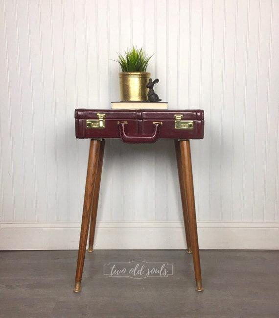 SOLD Briefcase End Table Steampunk Bedside Vintage