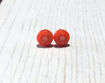 Tiny Tomato Slice Post Earrings, Tomato, Fruit Slice Earrings, Vegetables, Red Earrings, Gift, Under 5 dollars, Gardener Gift, Summer
