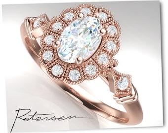 14k Vintage Art Deco Ring - Promise Ring - Vintage Ring - Rose Gold Engagement Ring - Wedding Ring - Rose Gold cz Cubic Zirconia Ring
