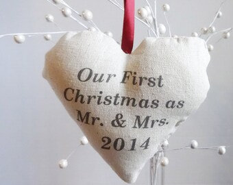 Our first Christmas Ornament, personalized Christmas ornament, custom ornament, rustic first Christmas ornament, first married ornament
