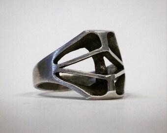 Bone mask ring.  Version 5.  Sterling silver.  Handmade