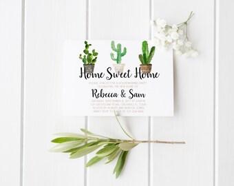 Pendaison de crémaillère Invitation Cactus plantes grasses Pot pendaison de crémaillère Invitation Home Sweet Home Home Maison parti nouvelle maison partie imprimable