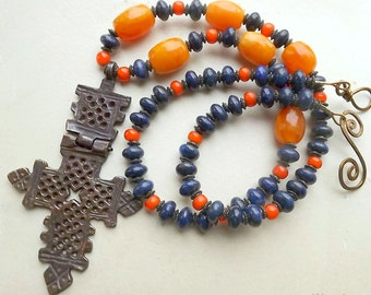 Statement necklace with large old Ethiopian Coptic cross, lapis and hand carved amber beads