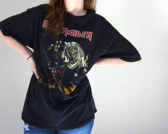 Vintage IRON MAIDEN Tee • 1990s Clothing • Black Metal Band Rock T Shirt Skeleton Oversized Extra Large Number Beast 100 Cotton Graphic