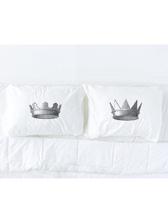 His and Hers Medieval Crowns Imprinted Pillowcase Set, King and Queen, Wedding Gift, Couples, Newlywed, Anniversary, Pillow Talk