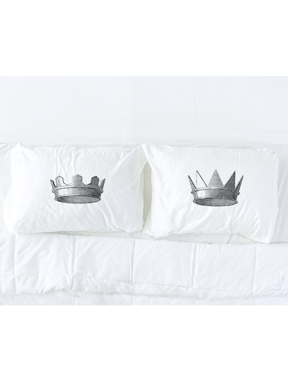 ... Pillow Talk $39.99 His And Hers Medieval Crowns Imprinted Pillowcase  Set, King And Queen, Wedding Gift,