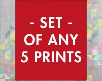 Set of 5 prints - Choose Any 5 in the Shop - Wall Decor - Art Print  - Digital Print  - Printmaking - Wall Art