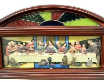 The Last Supper Lighted Stained Glass Plaque
