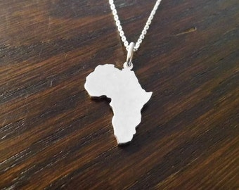 sterling silver Africa Pendant 25mm x 20mm