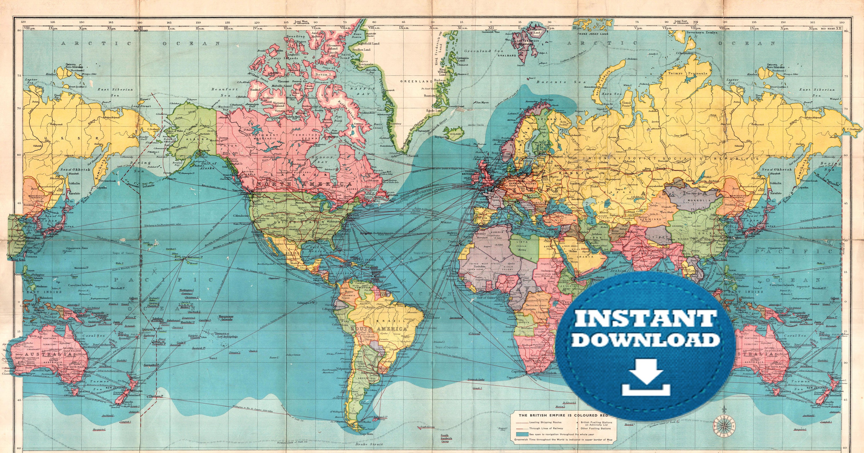 Digital old world map printable download vintage world map zoom gumiabroncs Gallery
