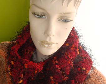 Snood or neck chic knitted effect handmade mixed materials