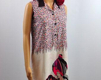 Vintage 1970's Biba Style Print Shift Midi  Summer Day Dress