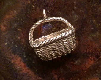 Vintage sterling woven basket sewing easter basket charm pendant or keychain charm