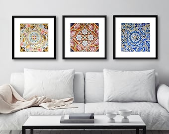 SALE, Spanish Tile Wall Art, Print Set, Square Prints, Colorful Patterns, Bedroom, Bathroom, Kitchen, Barcelona, Spain, Gaudi, Set of 3