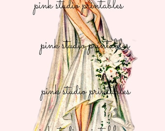 A Vintage Bride, PNG  Printable image (digital download, printable)