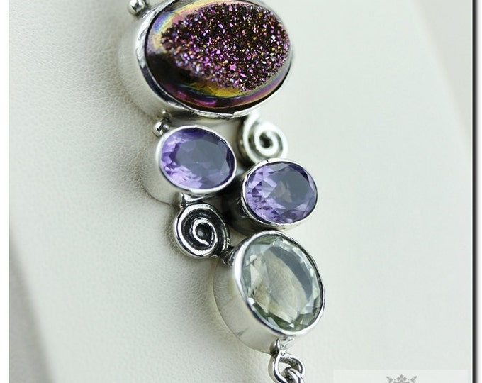 French Vintage Setting Midnight Druzy Amethyst 925 SOLID Sterling Silver Pendant + 4mm Snake Chain & FREE Worldwide Shipping