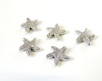 Textured Starfish Spacer Beads Antique Silver Tone, Starfish Charms, Nautical Beach Charms, Jewelry Making Supply Charms, Spacer Beads