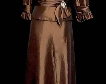 Chocolate Brown Taffeta Ruffle Collar Gown                VG275