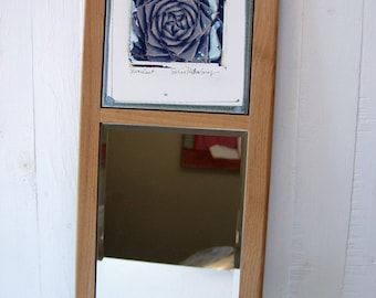 Sale. Succulent Photo Transfer Wall Mirror.  Polaroid Image Transfer Printed On Ceramic Tile. Mounted With Mirror, Framed.