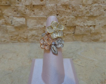 Yellow, Rose and White Gold Vermeil flower ring size 6