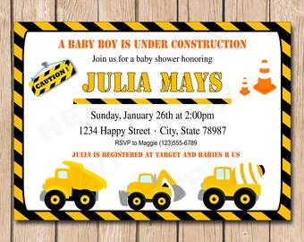 Construction Baby Shower Invitation   Dump Truck, Builder - 1.00 each printed