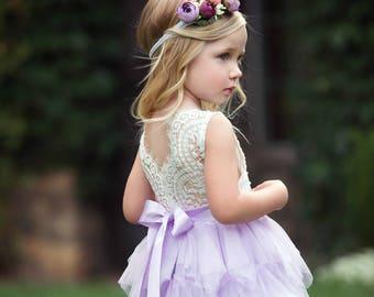 Lavender Flower Girl Dress, Flower girl dresses, lace flower girl dress,tulle flower girl dress, lilac flower girl dress,rustic flower girl