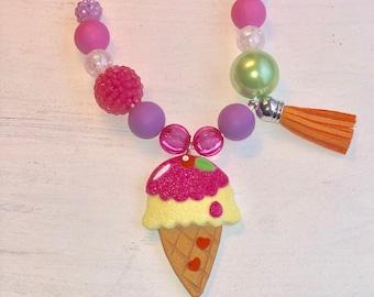 Clay Ice cream cone necklace