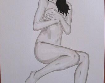 "drawing of nude female erotic portrait ""Mijorée"""