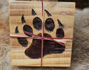 Bear Paw Wooden Coaster