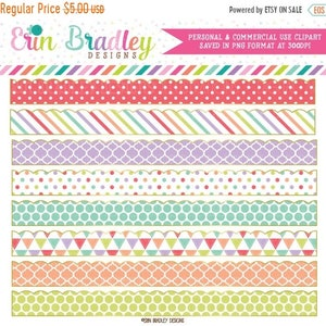 80% OFF SALE Sugar Borders Clipart Patterned Clip Art Graphics Digital Scrapbooking Elements with Polka Dots Stripes & Triangles
